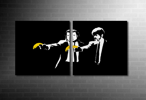 Banksy Pulp Fiction canvas art print, pulp fiction banksy print, pulp fiction banksy wall art, banksy art