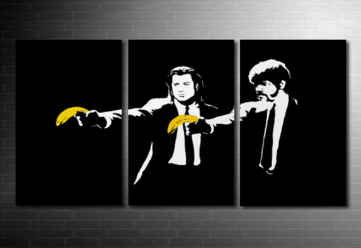 Banksy Pulp Fiction art print, pulp fiction banksy print, banksy art, banksy canvas picture