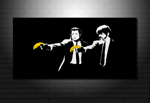 Banksy Pulp Fiction canvas wall art, pulp fiction banksy wall art, banksy banana photo, banksy pulp fiction canvas