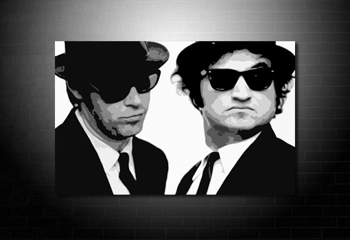 Blues Brothers Canvas, blues brother pop art, blues brothers wall art, blues brothers canvas, blues brothers movie print