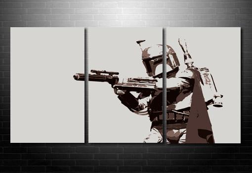 Boba Fett Canvas Art, star wars canvas art print, star wars pop art, movie art prints, boba fett canvas