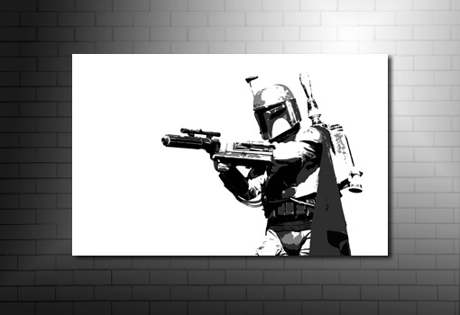 Boba Fett Canvas Art, star wars canvas art print, star wars movie art, movie art prints, boba fett canvas