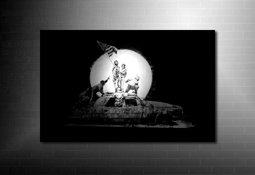 Banksy Canvas Car, banksy wall art, banksy canvas art print, banksy black and white print, modern wall art