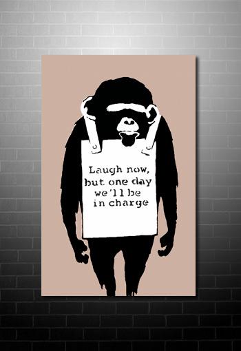 Banksy Canvas Chimp, banksy chimp, banksy monkey art, banksy modern art, banksy canvas