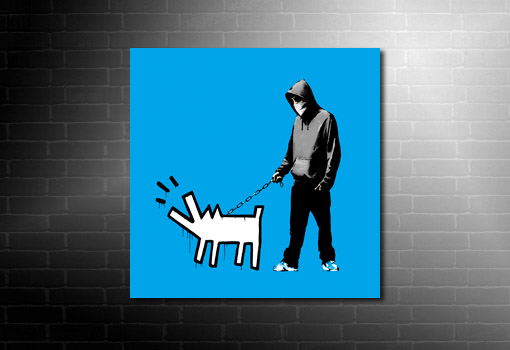 Banksy Choose Your Weapon Canvas print, banksy dog on lead, banksy canvas, banksy art print, banksy art