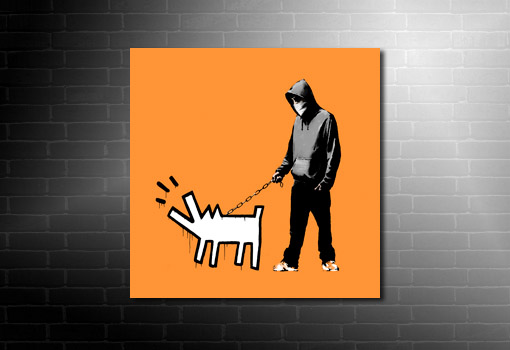 banksy dog on lead wall art, canvas art banksy, banksy canvas prints, banksy wall art, banksy modern art