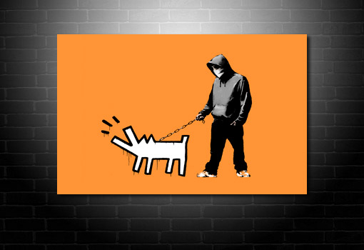 Banksy dog on lead print, banksy art prints, canvas art banksy, banksy wall art, banksy modern art