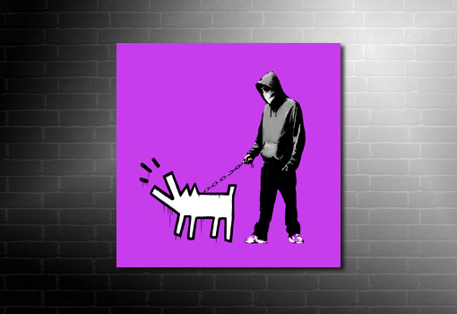 Banksy canvas art print dog lead, canvas art banksy, banksy canvas prints, banksy wall art, banksy modern art, banksy art