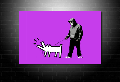 Banksy hooded mkan with dog art, banksy art prints, banksy canvas prints, cheap banksy art uk