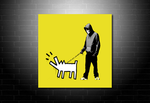 banksy choose your weapon yellow canvas, canvas art banksy, banksy canvas art, banksy art, cheap banksy art uk