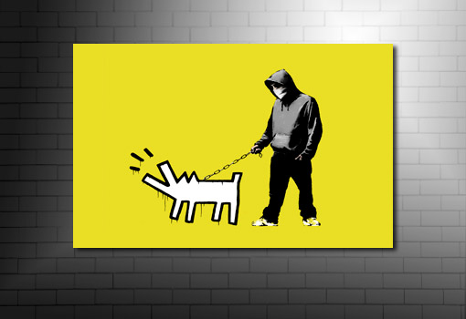 Banksy dog on lead canvas art, banksy art prints, banksy canvas art, banksy art, cheap banksy art uk