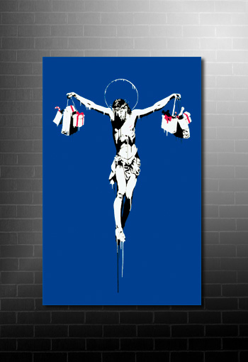 Banksy Canvas Christ with Shopping Bags, banksy art prints uk, banksy canvas wall art, banksy artwork, banksy graffiti art
