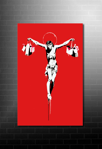 Banksy Canvas Christ with Shopping Bags, banksy artwork, banksy graffiti art, banksy art uk