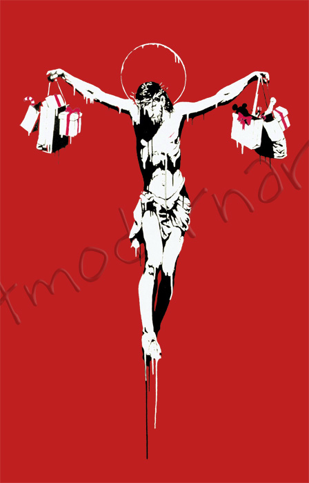 Banksy Canvas Christ With Shopping Bags