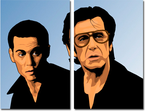 johnny depp art print, gangster wall art, donnie brasco fan art