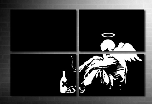 fallen angel wall art print, banksy angel canvas, banksy fvallen angel print, banksy wall, banksy canvas print