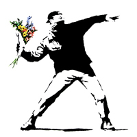 flower chucker canvas, banksy flower chucker, banksy canvas art, banksy riot canvas, banksy art uk