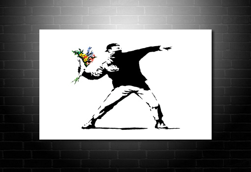 Flower Chucker canvas art, banksy art uk, banksy prints uk, cheap banksy art uk, banksy pop art