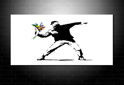 Flower Chucker wall art, banksy graffiti art, banksy canvas prints, banksy modern art