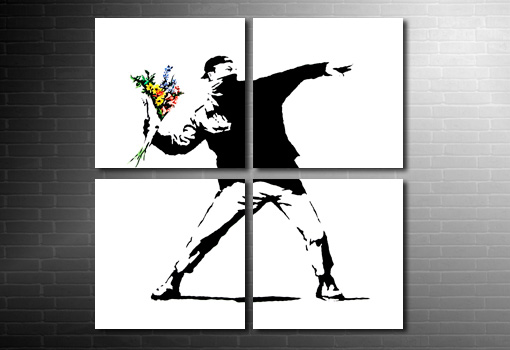 Banksy Flower Chucker canvas picure, banksy prints uk, banksy canvas picture, banksy artwork