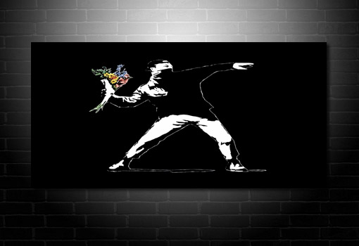 Banksy Graffiti Art Flower Chucker wall art, banksy canvas prints, banksy canvas wall art, banksy art