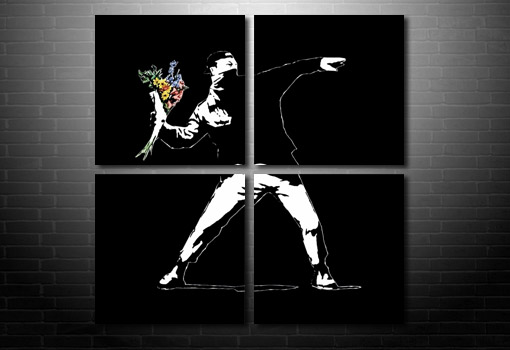 Flower Chucker canvas picure, banksy graffiti art, cheap banksy art uk, banksy pop art, banksy art