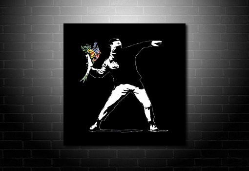 Banksy Flower Chucker Print canvas, banksy prints uk, cheap banksy art uk, banksy pop art, banksy art