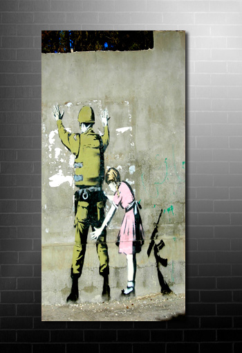 banksy frisk canvas art print, banksy art uk, banksy canvas prints, banksy graffiti art, banksy canvas artwork
