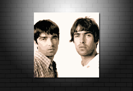 Oasis Canvas Art, oasis canvas print, liam and noel gallagher canvas, noel gallagher wall art, liam gallagher art print, music canvas art uk