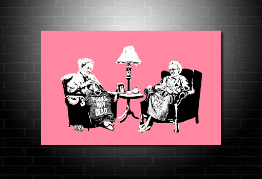 Banksy Grannies canvas art print, banksy art, banksy canvas print, banksy pink canvas, banksy knitting photo