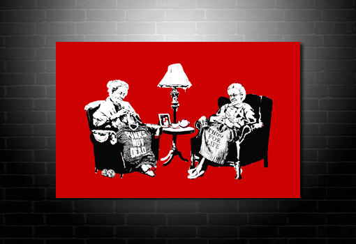 Banksy Grannies wall art, banksy knitting photo, banksy grannies art, banksy prints uk, banksy modern art