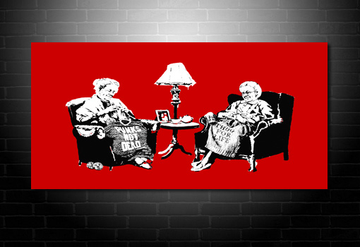 Banksy Grannies picture, banksy knitting photo, banksy grannies art, banksy prints uk, banksy modern art