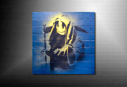 Grin Reaper Banksy Canvas print, cheap banksy art uk, banksy death canvas, banksy canvas print, banksy wall art