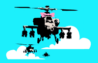 happy chopper canvas, banksy happy chopper, banksy art prints, banksy canvas art print