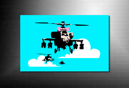 Banksy Wall Art, happy chopper canvas, banksy happy chopper, banksy helicopter canvas, banksy canvas art print