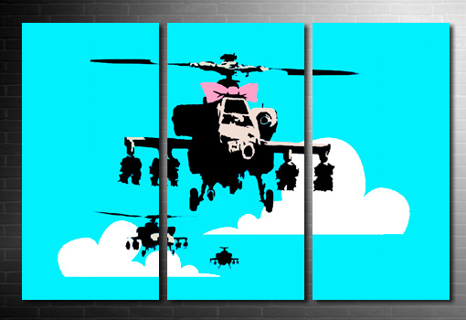 Banksy happy chopper canvas, banksy helicopter print chopper, banksy art prints, banksy canvas art print, banksy canvas uk