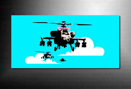 Banksy canvas Art print, banksy happy chopper, banksy art prints, banksy prints uk, banksy canvas uk