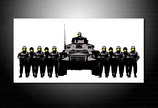 banksy canvas print have a nice day, banksy smiling cops, banksy canvas wall art, banksy canvas art print, banksy art uk