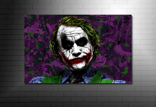 the joker canvas painting, batman movie canvas, heath ledger canvas art, the joker canvas print