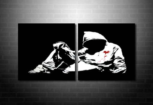 Banksy Hoody wall art, banksy knife photo, banksy canvas painting, banksy canvas wall art, banksy canvas