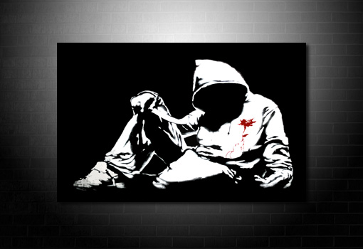 Banksy Hoody Canvas, banksy knife photo, banksy canvas art, banksy pop art, banksy wall art