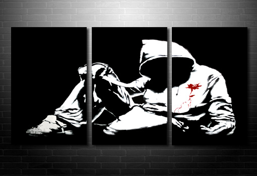 Banksy Hoody canvas picure, banksy knife photo, banksy canvas painting, banksy canvas picture, banksy modern art