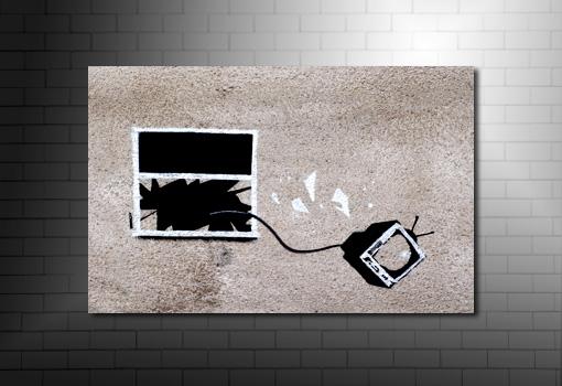Banksy hotel yob canvas, hotel yob canvas, hotel yob banksy, banksy art, banksy tv window photo