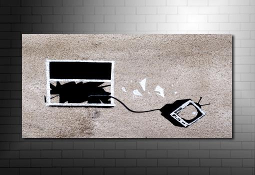 Banksy hotel yob canvas art, banksy tv window photo, banksy art prints uk, banksy canvas uk