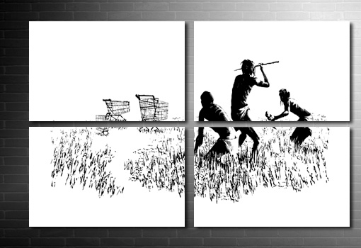 Hunters Banksy wall art