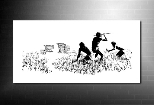 Banksy canvas hunters colour