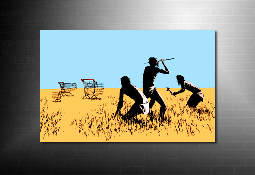 Hunters Banksy Print, banksy africa canvas, hunters banksy print, banksy art uk, banksy wall art