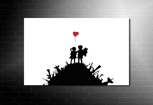Banksy Kids with Guns, banksy kids picture, banksy heart, banksy wall art, banksy canvas, banksy wall art
