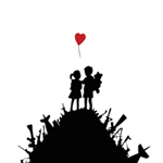 banksy kids with guns, banksy kids guns art, banksy heart print, banksy prints, banksy canvas painting