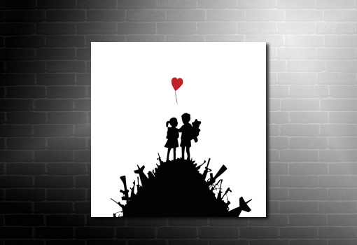 Banksy Kids with Guns wall art, banksy kids picture, banksy art prints uk, banksy canvas uk